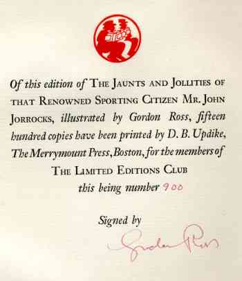 Image for The Jaunts and Jollities of that Renowned Sporting Citizen Mr. JOHN JORROCKS of St. Botolph Lane and Great Coram Street. VG 1st Limited/Numbered HB