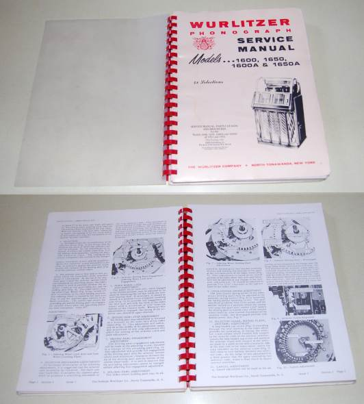 Image for Wurlitzer Phonograph Service Manual, Parts Catalog and Brochures for the Models 1600, 1650, 1600A and 1650A of 1953 and 1954  48 Selections