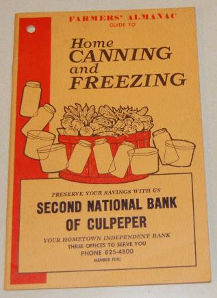 Image for Farmers' Almanac Guide to Home Canning and Freezing Promotional Book From Second National Bank of Culpeper, VA