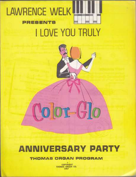 Image for Lawrence Welk Presents Color-Glo  10 Different Holiday & Occasional Party Sheet Music for the Thomas Organ Program