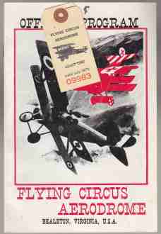 Image for Official Program Flying Circus Aerodrome Bealeton, Virginia U.S.A. And Ticket for Admission 1971