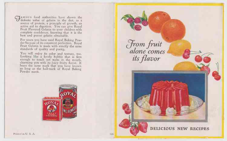 Image for From Fruit Alone Comes Its Flavor  Royal Fruit Gelatin Flavor From Fresh Fruit. Delicious New Recipes.  Vintage c1920s  Recipe Pamphlet #326