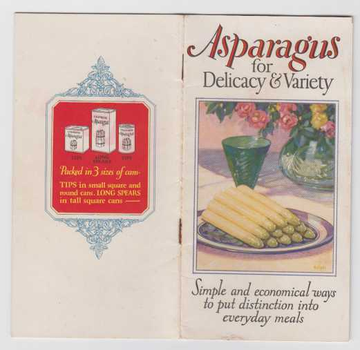Image for Asparagus for Delicacy and Variety  Simple and Economical Ways to Put Distinction Into Everyday Meals. A Collection of Recipe and Menu Suggestions for the Service of California Asparagus. VG+  Vintage 1st ED PB Cookbook
