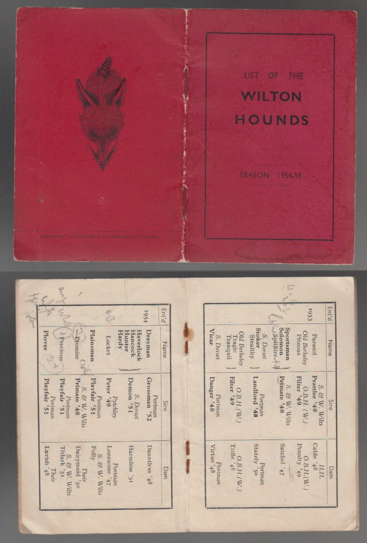 Image for List of The Wilton Hounds Season 1954-55. August 1954
