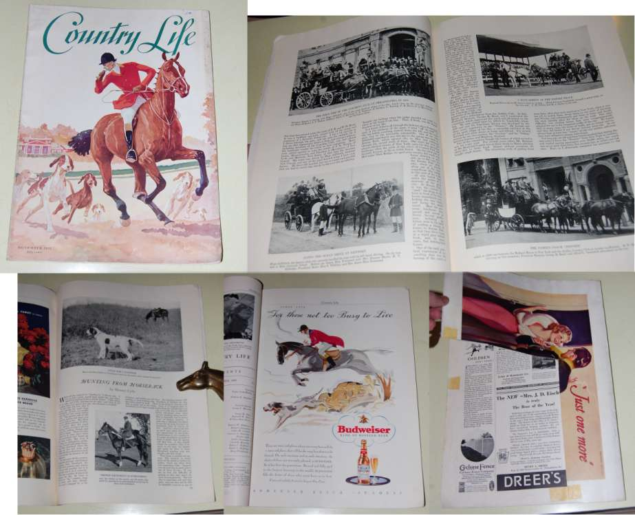 Image for Country Life Magazine  November 1933  Vol. Lxv. No. 1. Paul Brown Illustrated Fox Hunting Cover. Hunting Articles, Carriage Driving Issue