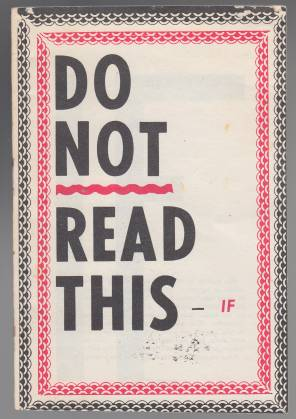 Image for Do Not Read This -- If